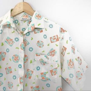 Vintage Aztec Southwest Bird Print Button Up Shirt